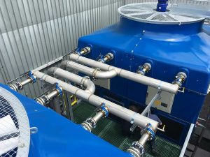 GRP cooling tower with axial flow fan