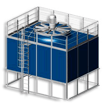 Compact open cooling towers pre-assembled at factory
